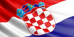 Croatian flag fluttering in wind. Stock Illustration