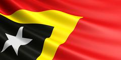Flag of East Timor fluttering in wind. Stock Illustration