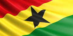 Ghana flag fluttering in wind. Stock Illustration