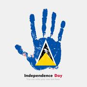 Handprint with the Flag of Saint Lucia in grunge style - stock illustration