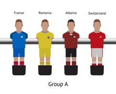 Table football game. foosball soccer player set. France, Romania, Albania - stock illustration