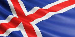 Iceland flag fluttering in wind. Stock Illustration