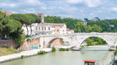 Isola tiberina timelapse is the biggest island of tibera river in rome Stock Footage
