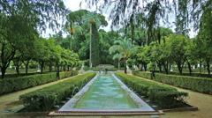 Real time view of fountains in Parque de Maria Luisa in Seville  Stock Footage
