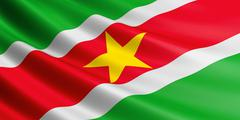 Flag of Suriname fluttering in wind. Stock Illustration
