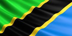 Flag of Tanzania fluttering in wind. Stock Illustration