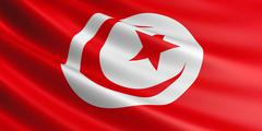 Flag of Tunisia fluttering in wind. Stock Illustration