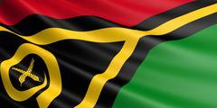 Vanuatu flag fluttering in wind. Stock Illustration
