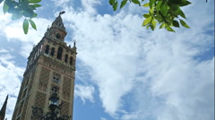 Real time wide-angle view of the tower of the Cathedral of Seville - stock footage
