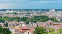 Panoramic view of historic center timelapse of Rome, Italy Stock Footage
