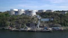 Tanks for storage of fuel. Store on the shore of the Baltic sea. Stock Footage