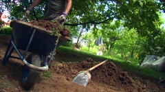 Young Man Digging In His Backyard Stock Footage