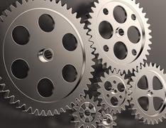 steel gear and cogwheels - stock illustration
