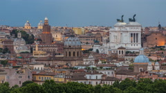 Panoramic view of historic center day to night timelapse of Rome, Italy Stock Footage
