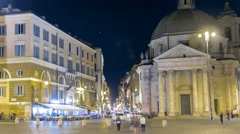 Piazza del Popolo timelapse with twin churches of Santa Maria in Montesanto and - stock footage