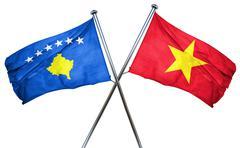 Kosovo flag with Vietnam flag, 3D rendering - stock illustration
