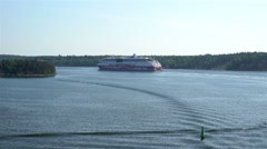 "Large marine ferry ""Viking Line"" sailing through ducts Norstrom in the Baltic. - stock footage"
