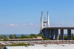 bridge the Vasco da Gama on river Tejo - stock photo