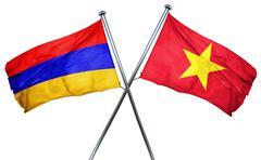 Armenia flag with Vietnam flag, 3D rendering - stock illustration