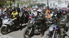 Bikers parade and show. Night Wolves MG Russia - stock footage