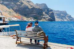 Fira. View of the old harbor - stock photo