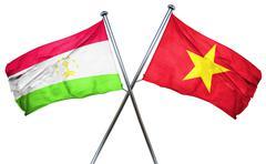 Tajikistan flag with Vietnam flag, 3D rendering Stock Illustration