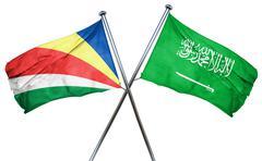 Seychelles flag with Saudi Arabia flag, 3D rendering Stock Illustration