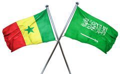 Senegal flag with Saudi Arabia flag, 3D rendering Stock Illustration