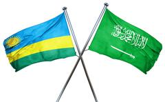 Rwanda flag with Saudi Arabia flag, 3D rendering - stock illustration