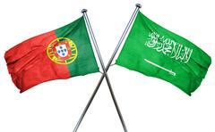 Portugal flag with Saudi Arabia flag, 3D rendering Stock Illustration