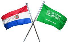 Paraguay flag with Saudi Arabia flag, 3D rendering - stock illustration