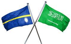 Nauru flag with Saudi Arabia flag, 3D rendering Stock Illustration