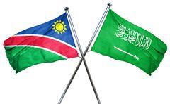Namibia flag with Saudi Arabia flag, 3D rendering - stock illustration