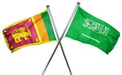 Sri lanka flag with Saudi Arabia flag, 3D rendering Stock Illustration