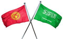 Kyrgyzstan flag with Saudi Arabia flag, 3D rendering - stock illustration