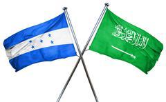 Honduras flag with Saudi Arabia flag, 3D rendering Stock Illustration