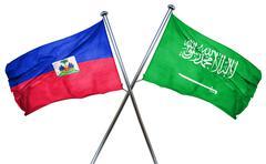 Haiti flag with Saudi Arabia flag, 3D rendering Stock Illustration