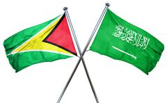Guyana flag with Saudi Arabia flag, 3D rendering Stock Illustration