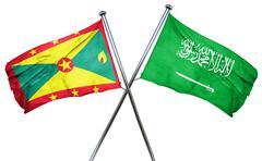 Grenada flag with Saudi Arabia flag, 3D rendering - stock illustration