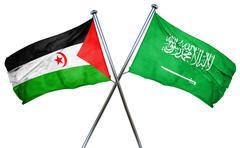 Western sahara flag with Saudi Arabia flag, 3D rendering - stock illustration