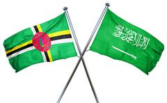 Dominica flag with Saudi Arabia flag, 3D rendering Stock Illustration