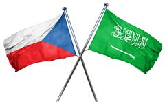 Czechoslovakia flag with Saudi Arabia flag, 3D rendering Stock Illustration