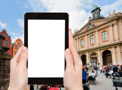 Tourist photographs Swedish Academy in Stockholm Stock Photos
