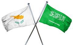 Cyprus flag with Saudi Arabia flag, 3D rendering Stock Illustration