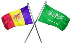Andorra flag with Saudi Arabia flag, 3D rendering - stock illustration