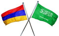 Armenia flag with Saudi Arabia flag, 3D rendering Stock Illustration