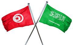 Tunesia flag with Saudi Arabia flag, 3D rendering Stock Illustration
