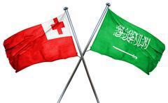 Tonga flag with Saudi Arabia flag, 3D rendering Stock Illustration