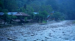 Village in Asian on river bank Stock Footage