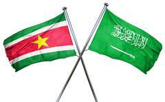 Suriname flag with Saudi Arabia flag, 3D rendering - stock illustration